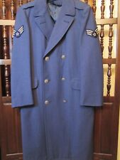 Mens Vtg US Air Force Blue Wool Over Coat Double Breasted w Insigna Trench 35R M