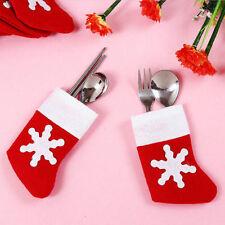 6x Navidad cubiertos Holder Bolsa De Tenedor Y Cuchara Bolsillo Santa Claus Navidad Decoración