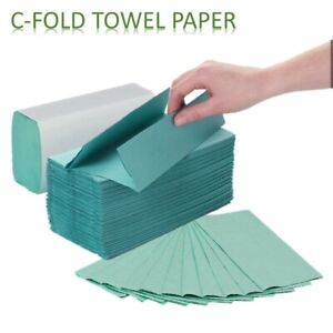 2400 Premium Quality C fold Multi Fold 1ply Green Paper Hand Towels tissues