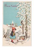 Buon Navidad Tarjeta Postal Vintage Chica Carretera Por País Nieve Aves Chiesa