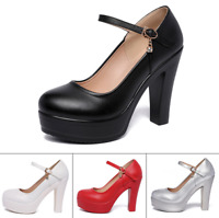 Fashion Women Round Toe High Heels Platform Ankle Strap Shoes Pumps Stiletto New
