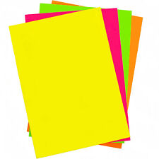 A4 Fluorescent Craft Paper 4 Colours in Pad Blue Yellow Orange Pink 32 Sheets