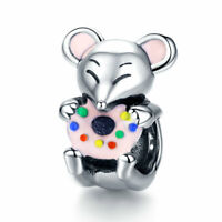 AAA Pendant Bead 925 Sterling Silver Mouse Charm For Women Necklace Bracelet