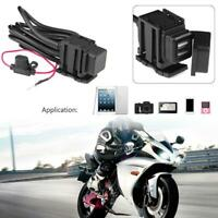 3.1A Dual USB Port Cable Adaptor Motorcycle Charger Socket for Phone GPS