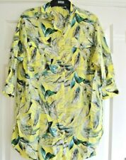 ZARA SHIRT DRESS TOP SIZE XS S OVERSIZE 10 12 14  LADIES GIRLS FLORAL YELLOW