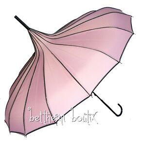 Goth : Parapluie ou Ombrelle Pagode ROSE liserés à Pois Victorien Gothique