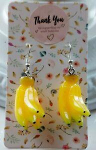 Cute Kawaii Retro Banana Earrings Resin Fruit Silver Plated Earring Hooks.
