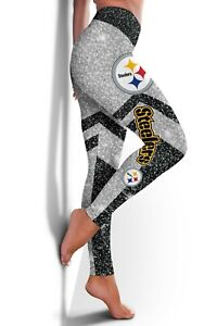 Women High Waist Pittsburgh Steelers Leggings Ruched Anti-Cellulite Yoga Pants