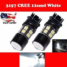 2X 3157 White 6000K Back Up Reverse Projector Cree+ 12-SMD Chip LED Lights Bulbs