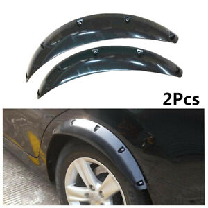 2Pcs Glossy Black Car Fender Flares Mud Flaps Arch Wheel Eyebrow Lip Universal