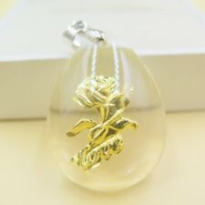 Pure 999 Gold Love Rose Man-made Crystal Pendant