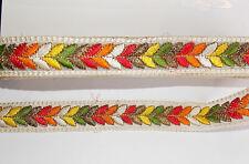 33mm ivory multucolour jacquard embroidered ribbon applique motif trimming decor