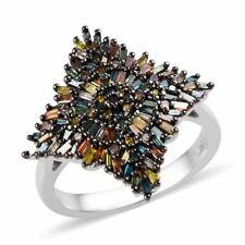 Red Diamond Cluster anillo de diamante amarillo 925 Tamaño de joyería de plata esterlina 6 CT 1