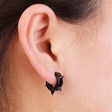 Unisex 1pcs Stainless Steel Hoop Huggies Ear Stud Black Earrings Gothic Cool