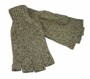 1 Pair Ragg Wool Fingerless Hunting / Fishing Gloves Size Large - NEW!