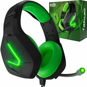 Orzly Premium RXH-20 Lightweight Gaming Headset for PS5 Xbox, PC - Black / Green