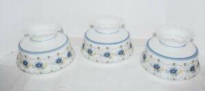 VTG QUOIZEL ABIGAIL ADAMS BLUE POPPY HURRICANE LAMP SHADE 6 3/4 FITTER
