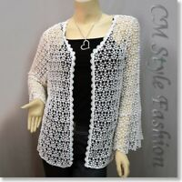 * Chic Eyelet Crochet Knit Scallop Cardigan Top Off White L