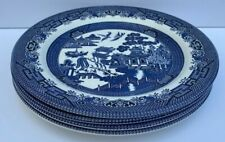 Set of 4 Blue Willow CHURCHILL England Dinner Plates Microwave Safe 10-3/8""