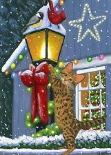 Bengal kitten cat chickadee cardinal lamp Chistmas lights Oe aceo print art