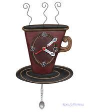 Elegant Brown COZY CAFE Designer Wall Clock by Allen Designs Coffee