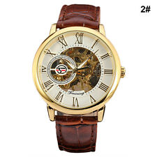 Luxury Men's Steampunk Skeleton Stainless Steel Automatic Mechanical Wrist Watch