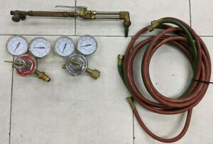 Gentec 142C Large Cutting Oxygen & Acetylene Torch Set w/ Hose & Regulators