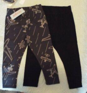 Toddler Boys' 2pk Pull-On Pants - Cat & Jack™ Airplane/Black Elastic waist pants