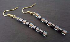 Hematite Gemstone & Glass Japanese Squares Gold Plate Drop Earrings