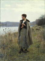 Daniel Ridgway Knight The Shepherdess of Rolleboise Poster Giclee Canvas Print