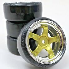 1/10 Scale On-Road 5 Spoke Gold Rims with Hard Drift Tires 12mm RC Wheels