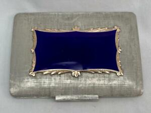Stunning Vintage Silver Royal Blue Enamel & 18ct Gold Rectangular Compact.