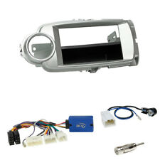 Toyota Yaris XP13 2011-2014 2-DIN Blende+Fach silber+China Radio Lenkradadapter
