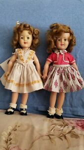 2 Ideal Shirley Temple Dolls Red Party Dress blonde flowers bow vintage cute