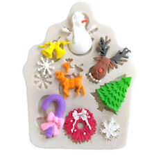 Snowman Tree Deer Silicone Fondant Mould Cake Decorating Baking Chocolate Mold