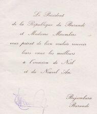 BURUNDI 1966 - 1976 President Michel Micombero  Signed Greeting Card
