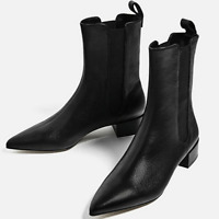 New Women Black Leather Ankle Boots Low Heel Pointed Toe Pull On Line Warm Shoes