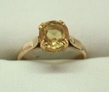 9 Carat Rose Golf And Citrine Solitaire Ring Size L.1/2