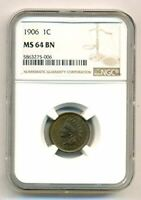 1906 Indian Head Cent MS64 BN NGC