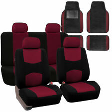 Car Seat Covers Set 4 Headrests Black Burgundy with Carpet Floor Mat