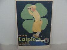ALPIN CARTELLO INSEGNA PUBBLICITARIA LIQUORE L'ALPIN PUBBLICITA' 1947 EPOCA OLD
