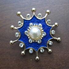 Royal Blue Italian Byzantine Medieval Navy Anchor Brooch Pin Pearl Enamel Gold