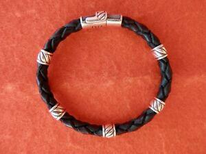 "David Yurman Brown Leather Silver Chevron Station Magnetic Clasp Bracelet 8"""