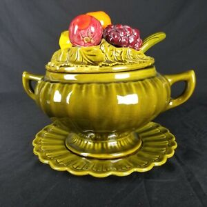Vintage California Pottery Olive Green Majolica Ceramic Footed Soup Tureen Fruit