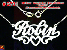 ROBIN Personalized 925 Sterling Silver Name Necklace Handcrafted Pendant