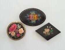 Lot Bijoux Vintage 3 Broches en Bois Plastique Pierre décor Fleurs