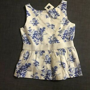 NWT Janie And Jack Blue Top Blouse Sleeveless Floral Full Button Back Sz 12