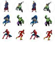 12 Superhero (Batman Spiderman Superman Hulk) Edible Wafer Paper Cupcake Toppers