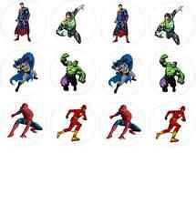12 Superhero (Batman Spiderman Superman Hulk) Edible Wafer Paper Cupcake Toppers