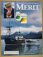 1984 Kodiak fishing boat & Floatplane Seaplane photo Merit Cigarettes vintage Ad